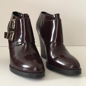 Aldo Patent Leather Burgundy Buckle Ankle Boots